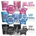 Birthday Glitz - Pink - Blue - Black/Silver