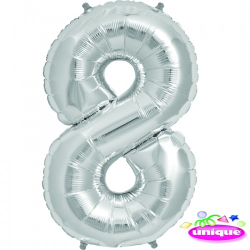 """34"""" Silver Number 8 Foil Balloon"""