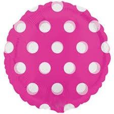 "Pink Polka Dot - 18"" foil balloon"