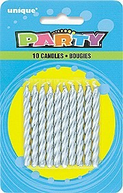 Silver Spiral Birthday Candles (10ct) - Pack of 12