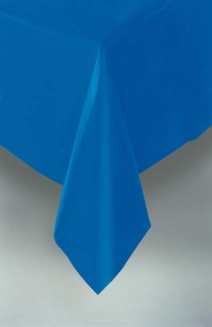 "Royal Blue Plastic Tablecloth 54""x108"""