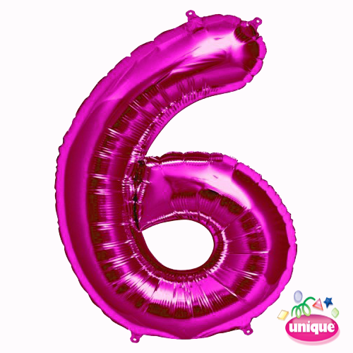 """34"""" Pink Number 6 foil balloon"""
