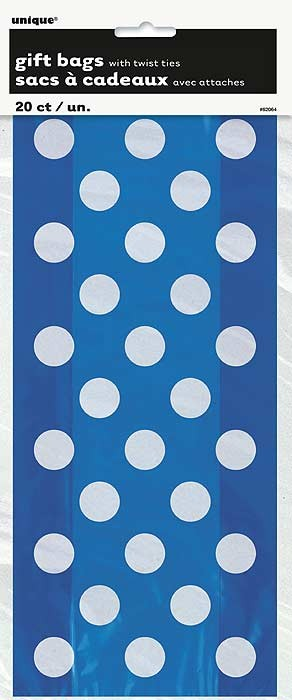 Royal Blue Dots Cello Bags 20 Ct Gift Packaging