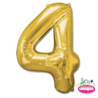 """34"""" Gold Number 4 foil balloon"""