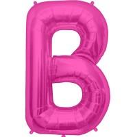 """Magenta Letter B Shape 34"""" Foil Balloon"""