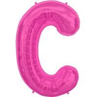"""Magenta Letter C Shape 34"""" Foil Balloon"""