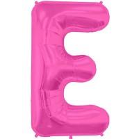 """Magenta Letter E Shape 34"""" Foil Balloon"""