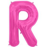 """Magenta Letter R Shape 34"""" Foil Balloon"""