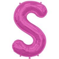 """Magenta Letter S Shape 34"""" Foil Balloon"""
