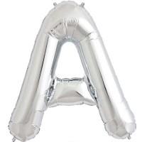 "Silver Letter A Shape 34"" Foil Balloon"