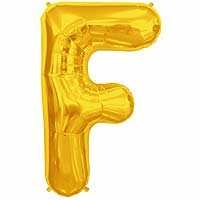 """Gold Letter F Shape 34"""" Foil Balloon"""