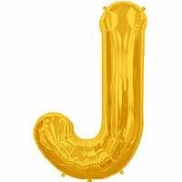 """Gold Letter J Shape 34"""" Foil Balloon"""
