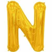 """Gold Letter N Shape 34"""" Foil Balloon"""