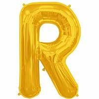 """Gold Letter R Shape 34"""" Foil Balloon"""