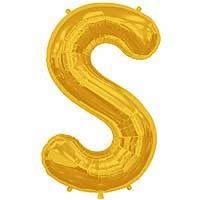 """Gold Letter S Shape 34"""" Foil Balloon"""