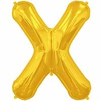 "Gold Letter X Shape 34"" Foil Balloon"