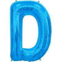"""Blue Letter D Shape 34"""" Foil Balloon"""