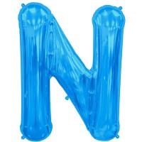 """Blue Letter N Shape 34"""" Foil Balloon"""