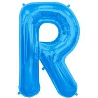 "Blue Letter R Shape 34"" Foil Balloon"