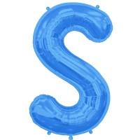 "Blue Letter S Shape 34"" Foil Balloon"