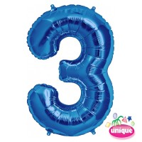 "34"" Blue Number 3 Foil Balloon"