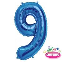 "34"" Blue Number 9 Foil Balloon"