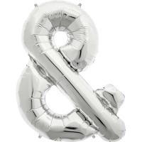 "Silver Ampersand & Shape 34"" Foil Balloon"