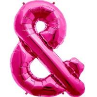 "Magenta Ampersand & Shape 34"" Foil Balloon"