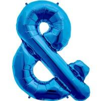 "Blue Ampersand & Shape 34"" Foil Balloon"
