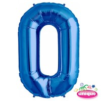 "34"" Blue Number 0 Foil Balloon"