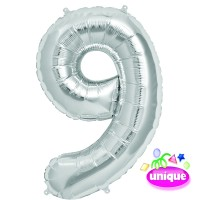 """34"""" Silver Number 9 Foil Balloon"""