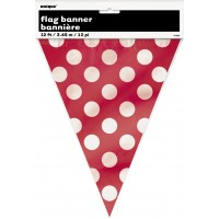 Ruby Red. Dots Flag Banner 12 Ft.