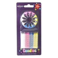 Party Candles 24pcs / 12 Holders blue, Pink, White, Yellow Pack of 6