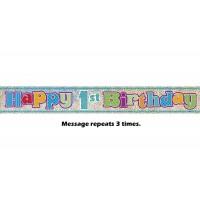 Happy 1st Birthday Prismatic Banner - 12Ft.