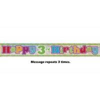 Happy 3rd Birthday Prismatic Banner - 12Ft.
