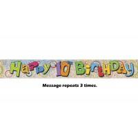 Happy 10th Birthday Prismatic Banner - 12Ft.