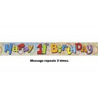 Happy 11th Birthday Prismatic Banner - 12Ft.