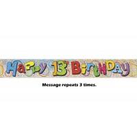 Happy 13th Birthday Prismatic Banner - 12Ft.