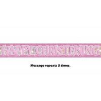 Pink Christening Prismatic Banner - 12Ft.