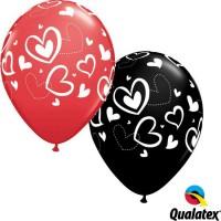 "Mix & Match Hearts 11"" Latex Red & Onyx Black (25ct)"