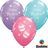 """Mother's Day Cupcakes 11"""" Latex Balloon - Assorted Colours (25ct)"""