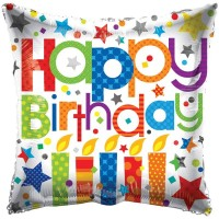 """Happy Birthday Patterned Candles - 18"""" foil balloon"""