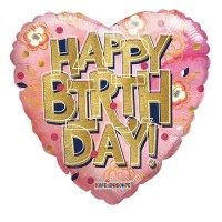 """Happy Birthday - Heart with Gold Letters - 18"""" Foil Balloon"""