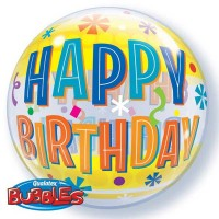 "Birthday Fun & Yellow Bands 22"" Single Bubble"