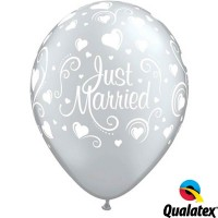 """Just Married Hearts 11"""" Silver (25CT)"""