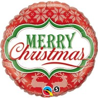 "Merry Christmas Nordic Pattern 18"" foil"