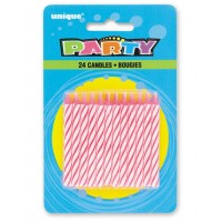 PINK SPIRAL CANDLES (24ct) - Pack of 12