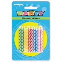Diamond Dot Birthday Candles Multi (20ct) - Pack of 12