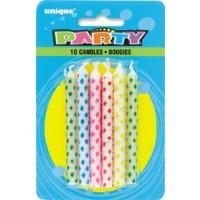 Diamond Dot Birthday Candles Multi (10ct) - Pack of 12