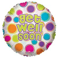 "Get Well Dots Clear View - 18"" foil balloon"